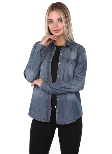 BLUE WHİTE Kadın Jean Gömlek Lacivert